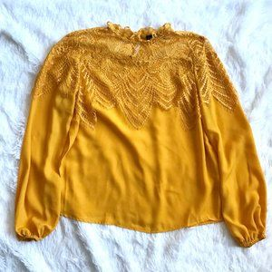 Mustard Yellow Blouse Lace Collar Accent